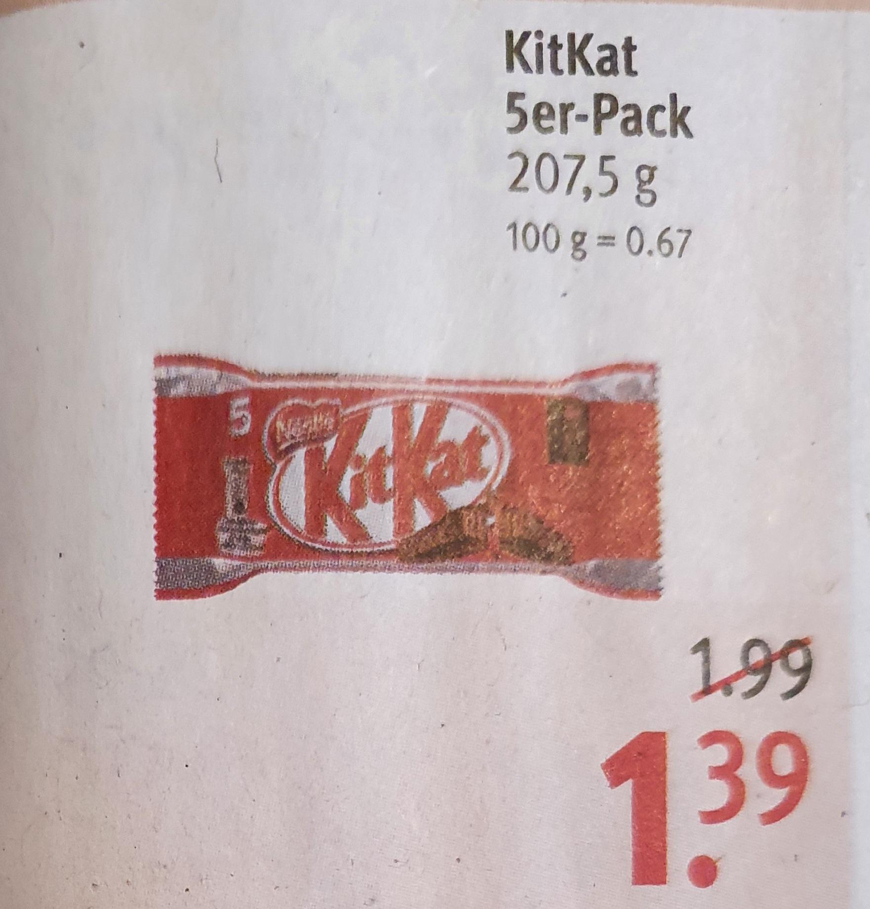 Kitkat 5er Rossmann ab 22.02.21 / 10% APP GS nicht vergessen - 1,26€