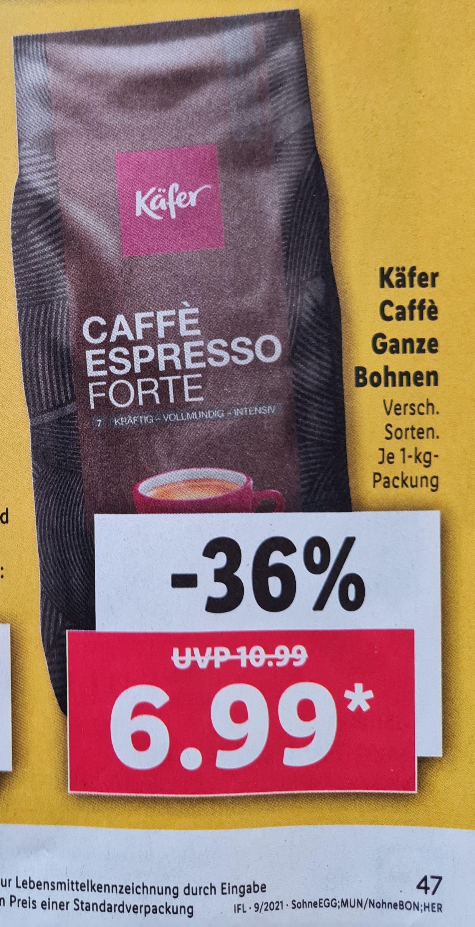 Käfer Caffé Ganze Bohnen 1 Kg verschiedene Sorten Lidl ab 05.03