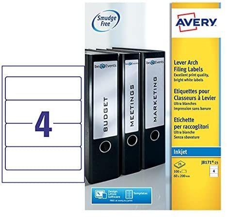 [Amazon Prime] Avery Ordneretiketten für Tintenstrahldrucker 200 x 60 mm, 25 Blatt, 4 Etiketten pro Blatt = 100 Etiketten, J8171-25