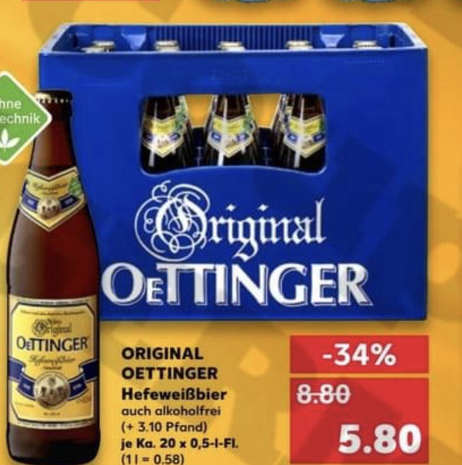 [Kaufland] Kiste Oettinger Weizenbier 20x0.5l für 5.80€ zzgl. Pfand