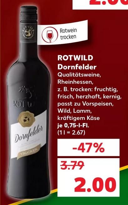 [Kaufland] Rotwild Dornfelder 0,75l Flasche