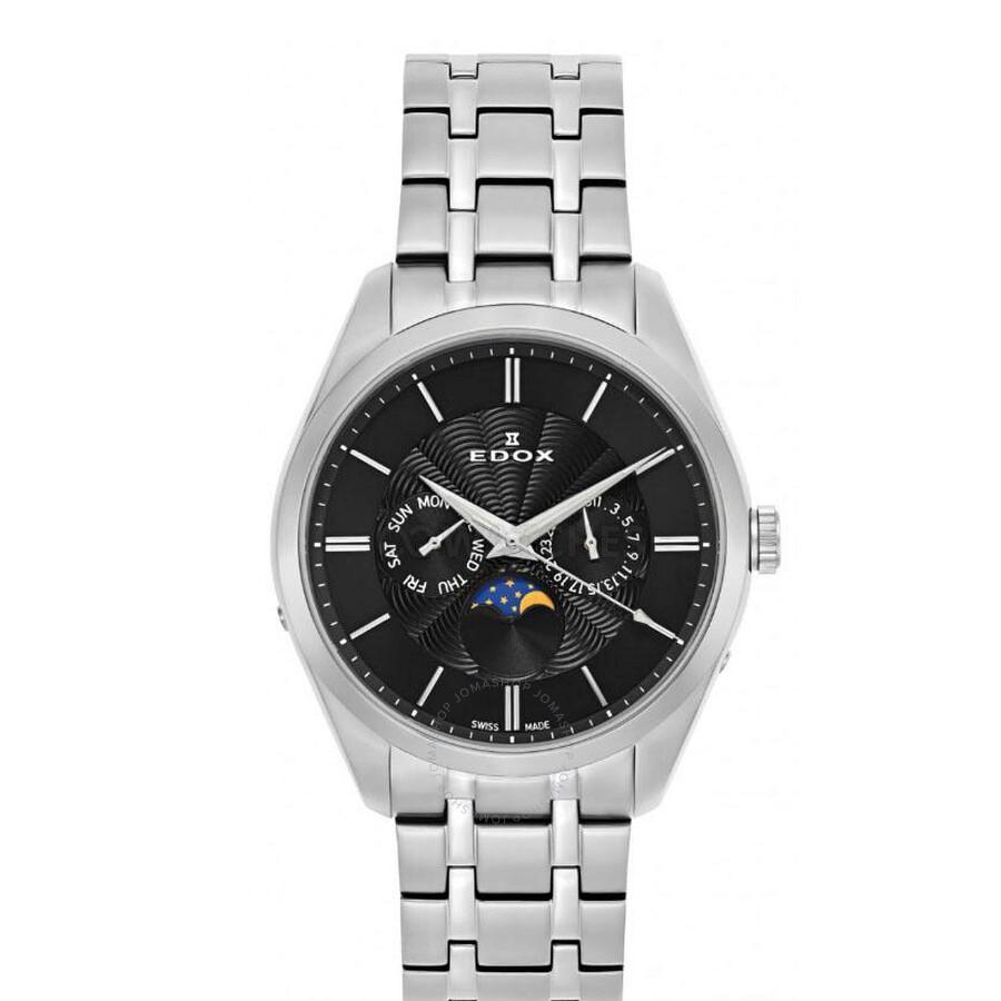 Edox Herren-Armbanduhr Les Vauberts Datum Wochentag Mondphase Analog Quarz 40008-3M-NIN