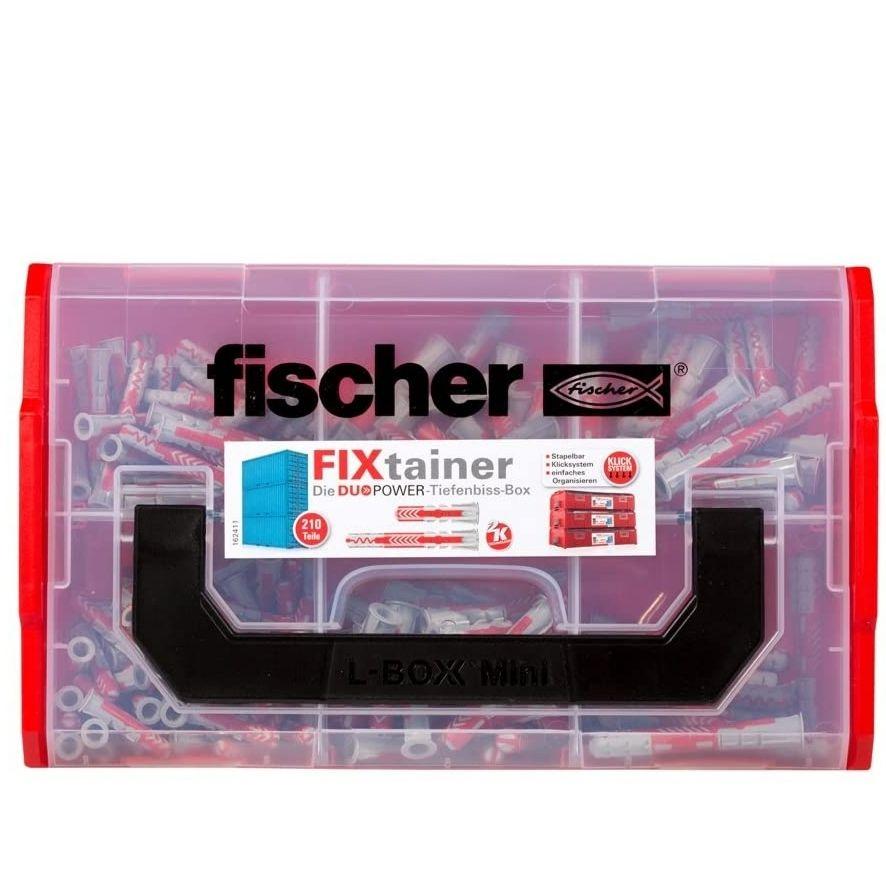 [Prime] fischer FIXtainer DUOPOWER Tiefenbiss-Box, Dübelbox mit 210 Dübeln (80 Stk. 6 x 30, 40 Stk. 6 x 50, 60 Stk. 8 x 40, 30 Stk. 8 x 65)