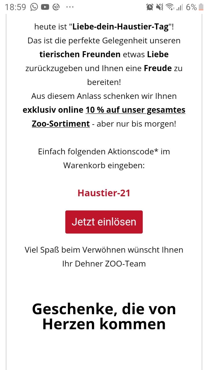 Dehner online: 10 % auf Zooartikel