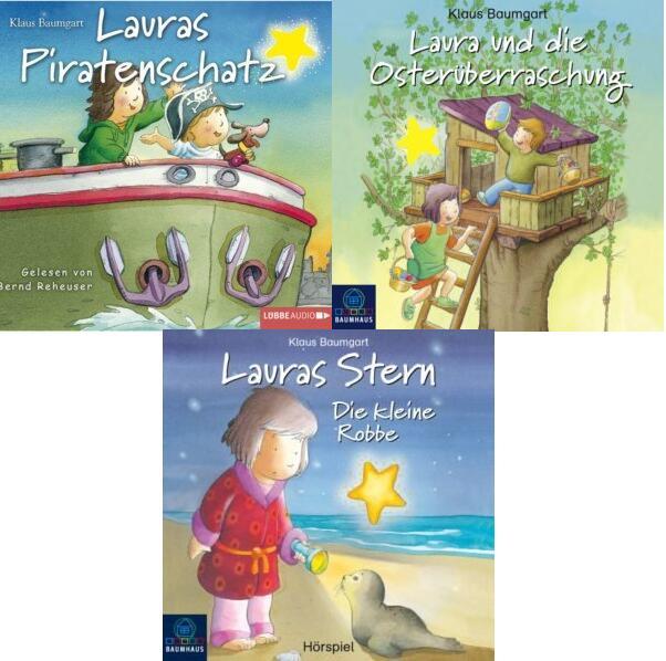 Lauras Stern - 3 Hörbücher   Lauras Piratenschatz, Die kleine Robbe & Laura und die Osterüberraschung