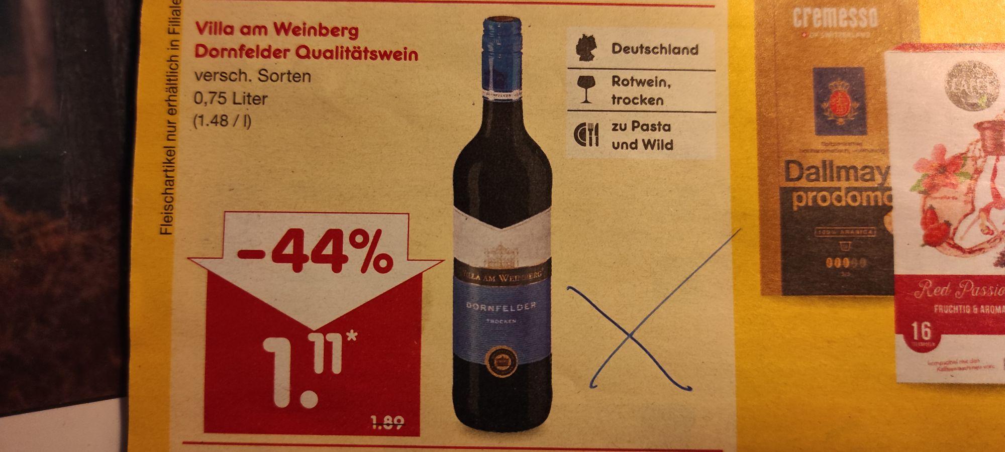 """[Netto Marken Discount] Dornfelder trocken oder halbtrocken """"Villa am Weinberg"""""""