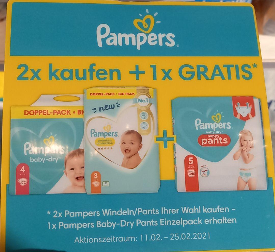 [dm] 2x Pampers Windeln/Pants kaufen 1x Baby-dry Pants Einzelpack gratis