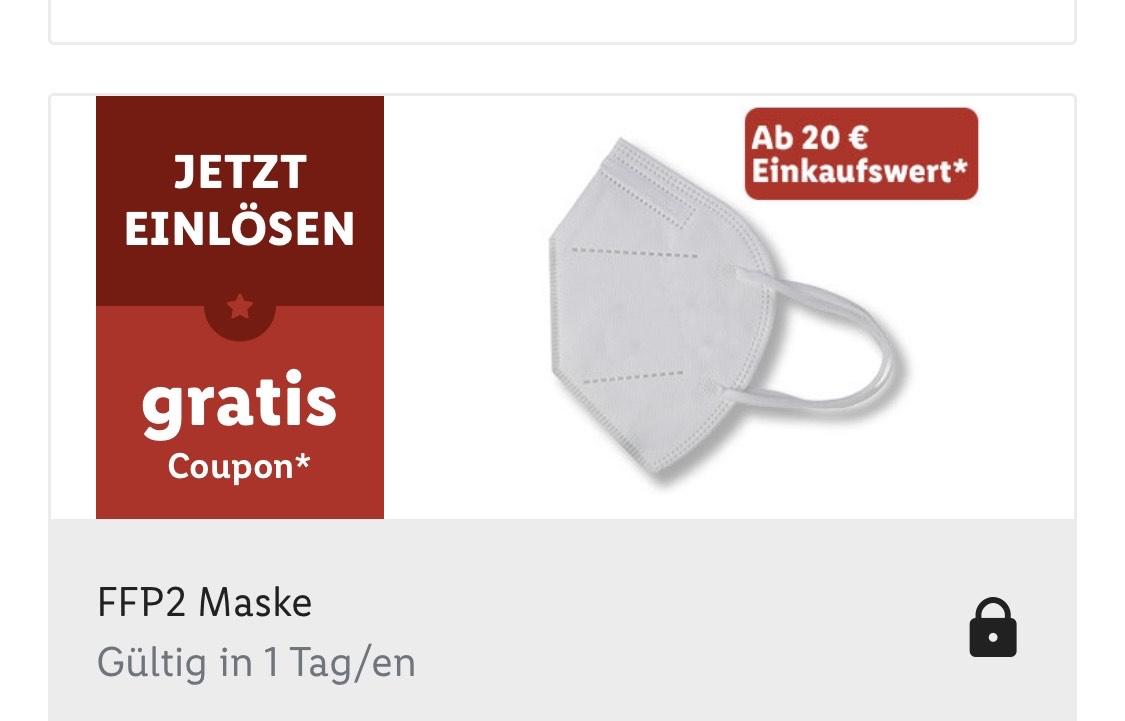 Gratis FFP2 Maske ab 20€/Lidl Plus
