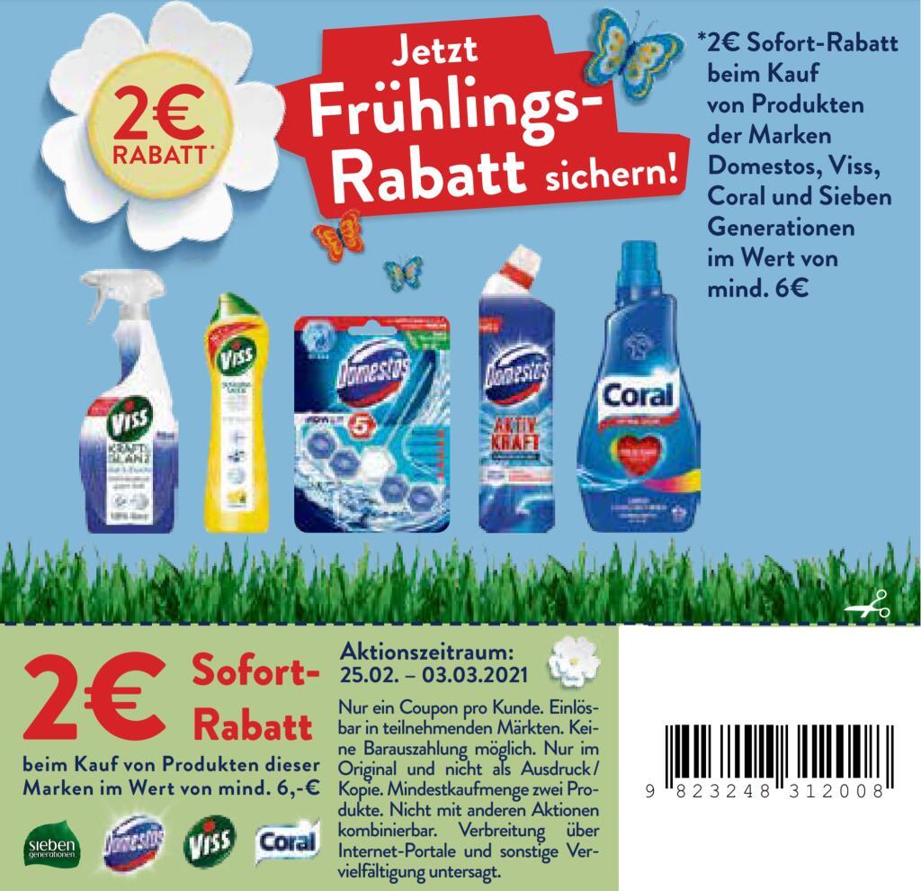 2€ Coupon für Coral, Domestos, Seventh Generation oder Viss Produkte im Wert von mind. 6€