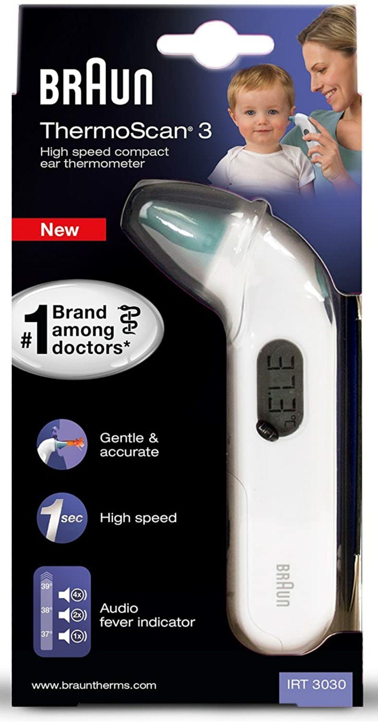 Braun ThermoScan 3 Infrarot Ohrthermometer IRT3030 [vorbestellen] [Amazon Prime]
