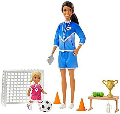 [Amazon Prime] Barbie GJM71 - Fußballtrainerin Spielset mit Puppe (Set blond) und Zubehör, ab 3 J.