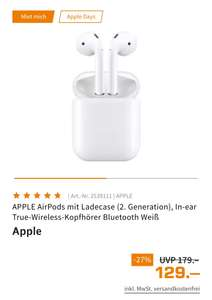 Apple AirPods mit Ladecase (2. Generation, 6 Monate Apple Music inkl.)