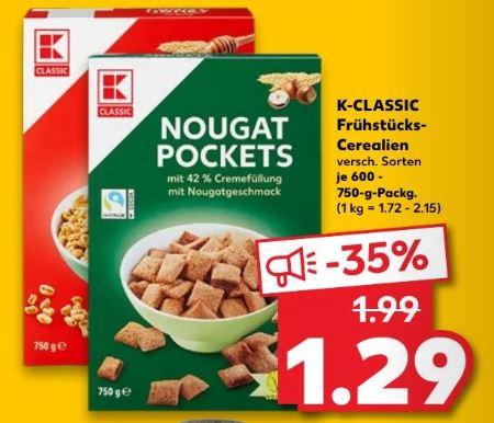 [Kaufland Fr+Sa] K-Classic Cerealien verschiedene Sorten 600-750g für 1,29€