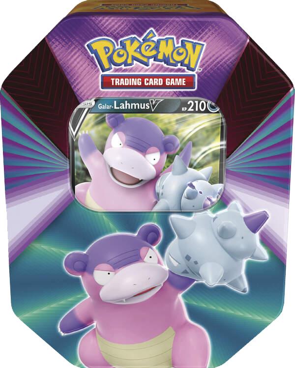 Pokémon TIN Box Lahmus mit Farbenschock Booster.