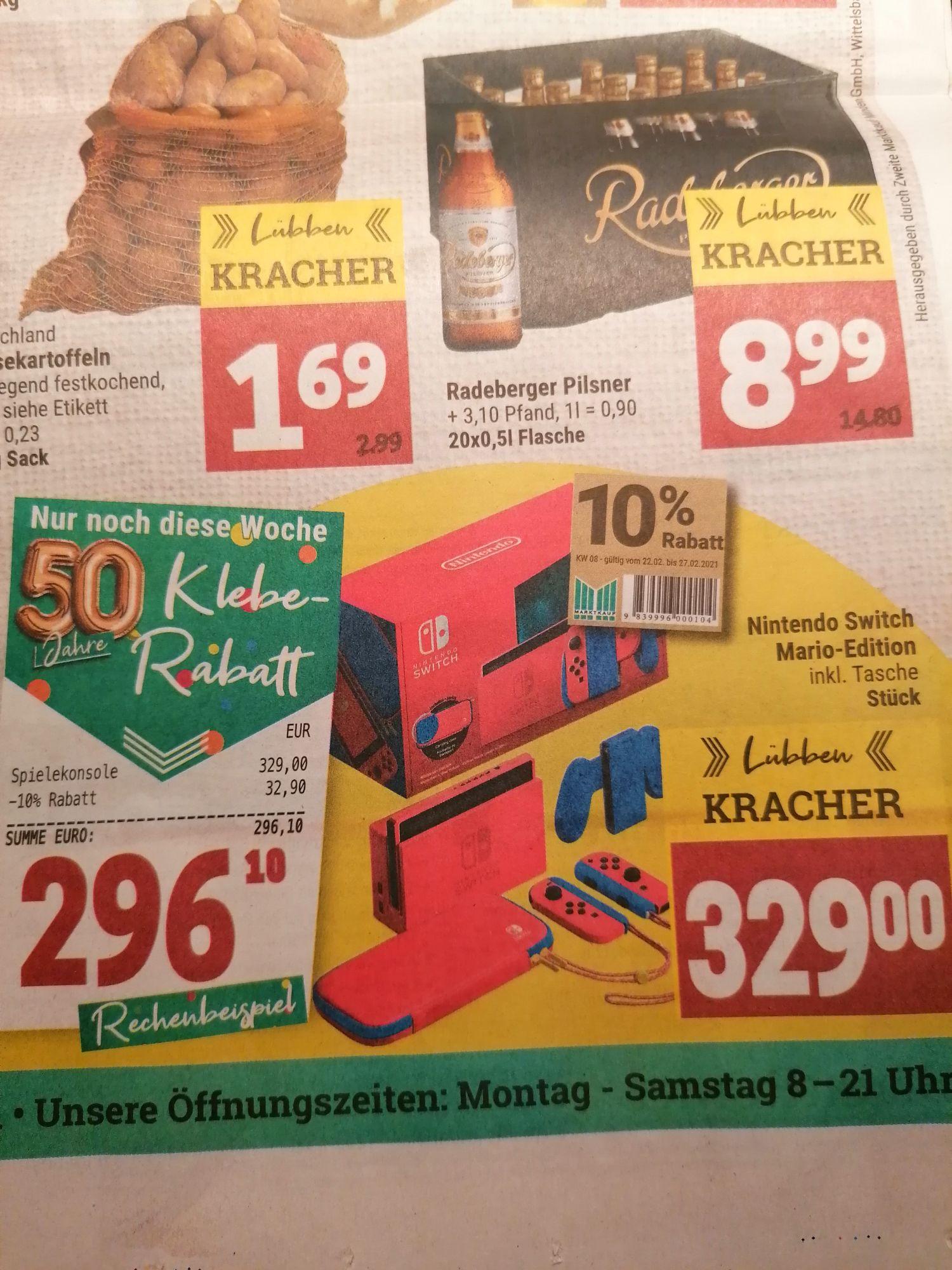 [Regional Lübben/Spreewald Marktkauf] Nintendo Switch Mario Red and Blue Edition für 296,10€
