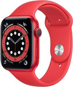 Apple Watch Series 6 44mm (GPS) (PRODUCT)RED Rot mit rotem Sportarmband für 377,75€