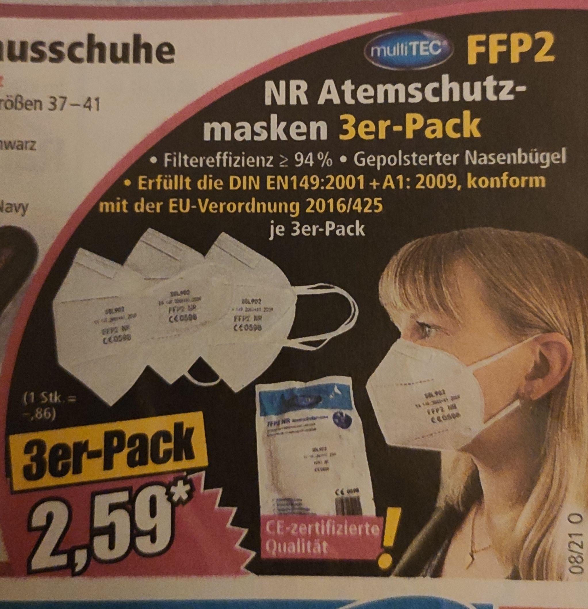 [Norma Offline] FFP2 Masken im 3er Pack 86 Cent pro Stück