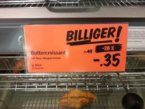 [lokal Rostock? ] Nougat-Croissant (frisch aufgebacken) für 35 Cent @Lidl