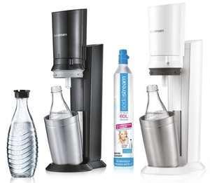 SodaStream Crystal 2.0 Wassersprudler Titan o. Weiß inkl. Glaskaraffe u. Kohlensäurezylinder für 79,99€