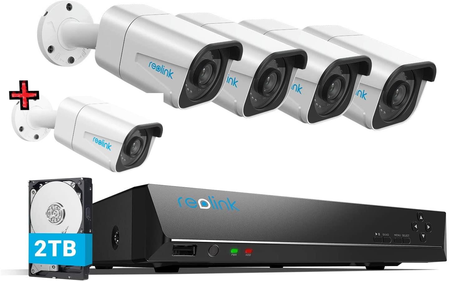 [Reolink] Reolink 8 Kanal Überwachungskamera Set RLK8-800B4 mit 5X 8Megapixel PoE IP Kamera und 2TB HDD NVR für 24/7 Aufnahme