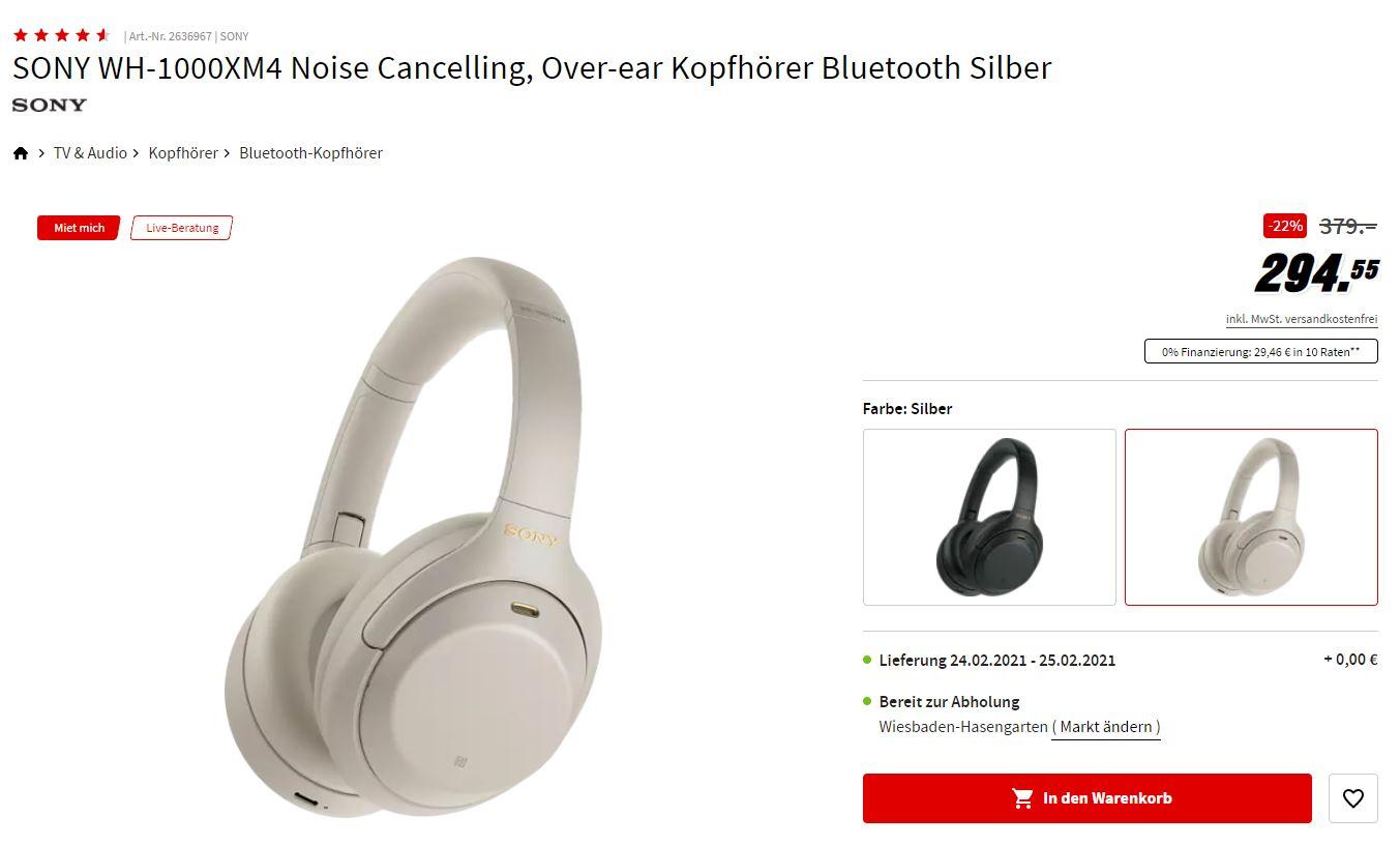 [Media Markt] SONY WH-1000XM4 Noise Cancelling, Over-ear Kopfhörer Bluetooth Silber