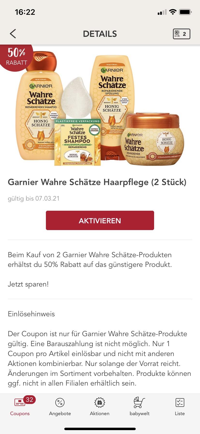 Garnier wahre Schätze zweites Produkt mit 50% Rabatt in der Rossmann App
