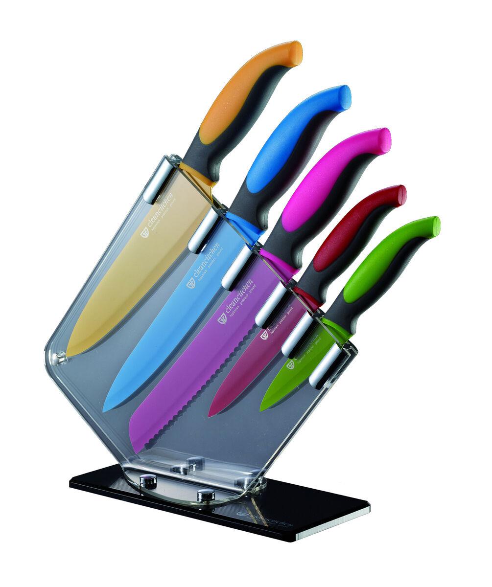 Gräwe cleancitchen Acryl-Messerblock mit 5 Messern (Küchenmesser 19.5cm, Gemüsem. 23cm, Brotm. 32cm, Fleischm. 32cm, Kochm. 31cm)