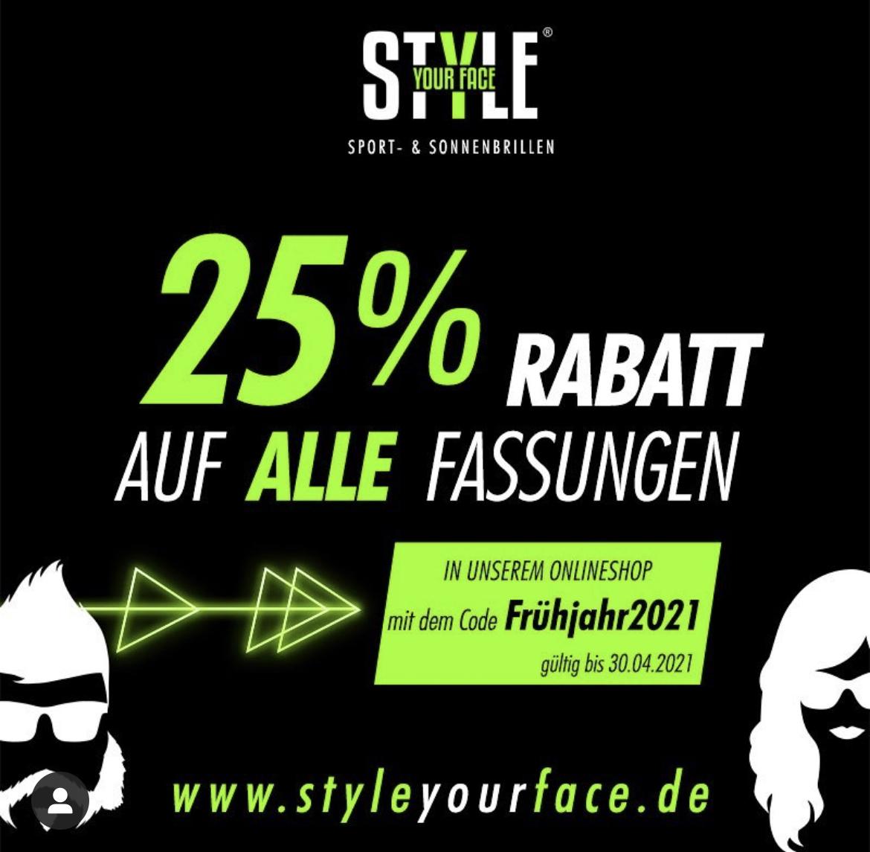 25% Rabatt auf Sonnenbrillen mit und ohne Sehstärke bei STYLE YOUR FACE