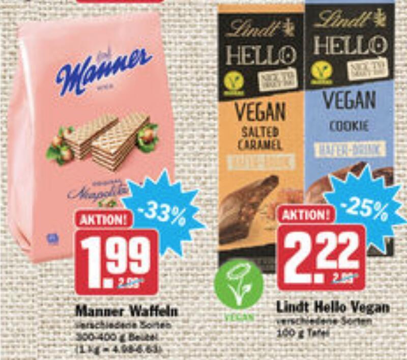 vegane Produkte bei HIT - Lindt Schokolade, Käsesauce-, Mayo-, Joghurt-, Honig-, Fleischersatz, Manner (vegan)