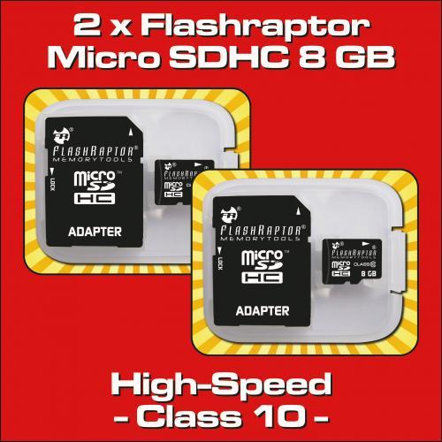 2 x Micro SDHC 8 GB Class 10/UHS