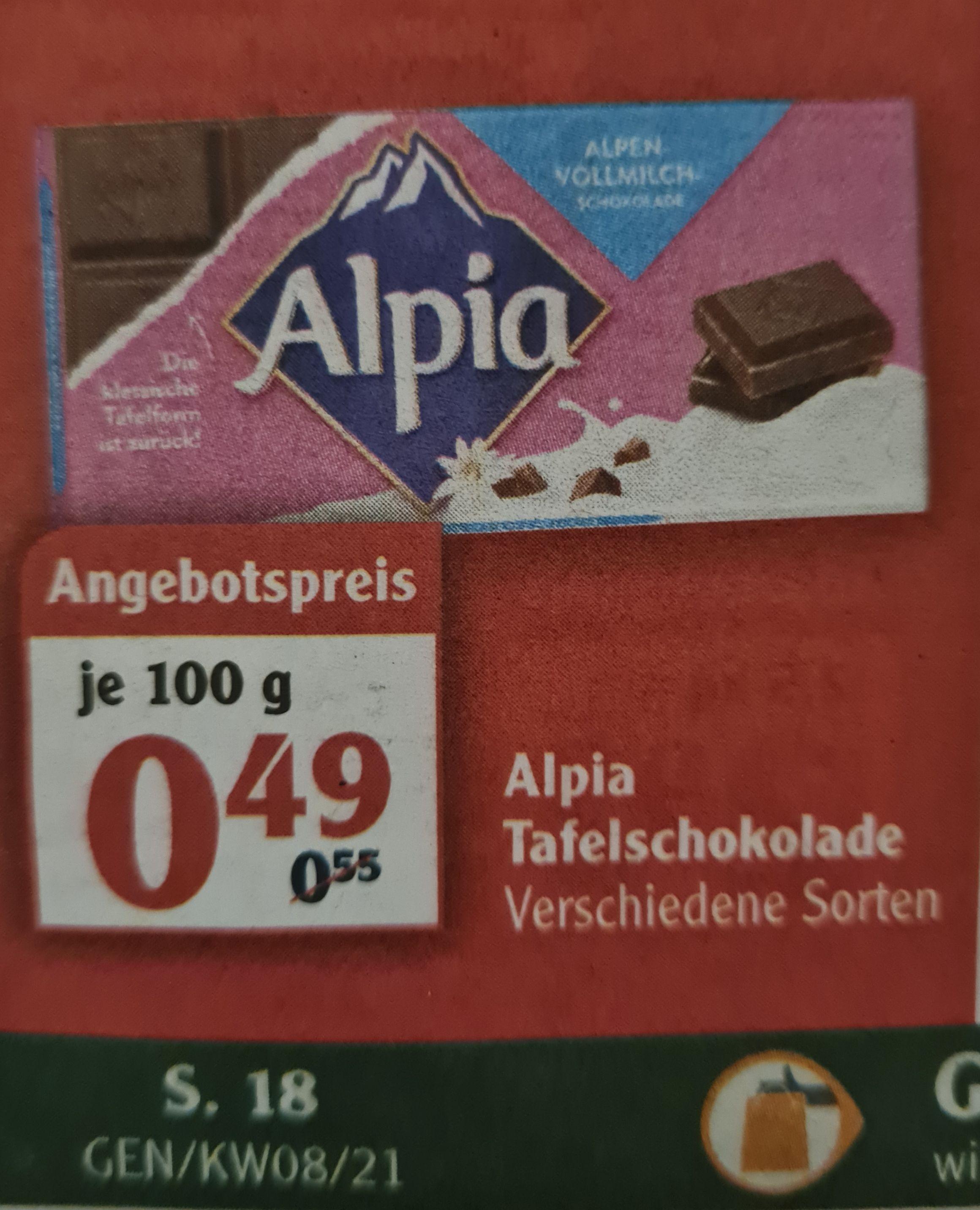 Alpia Tafelschokolade 100 g verschiedene Sorten