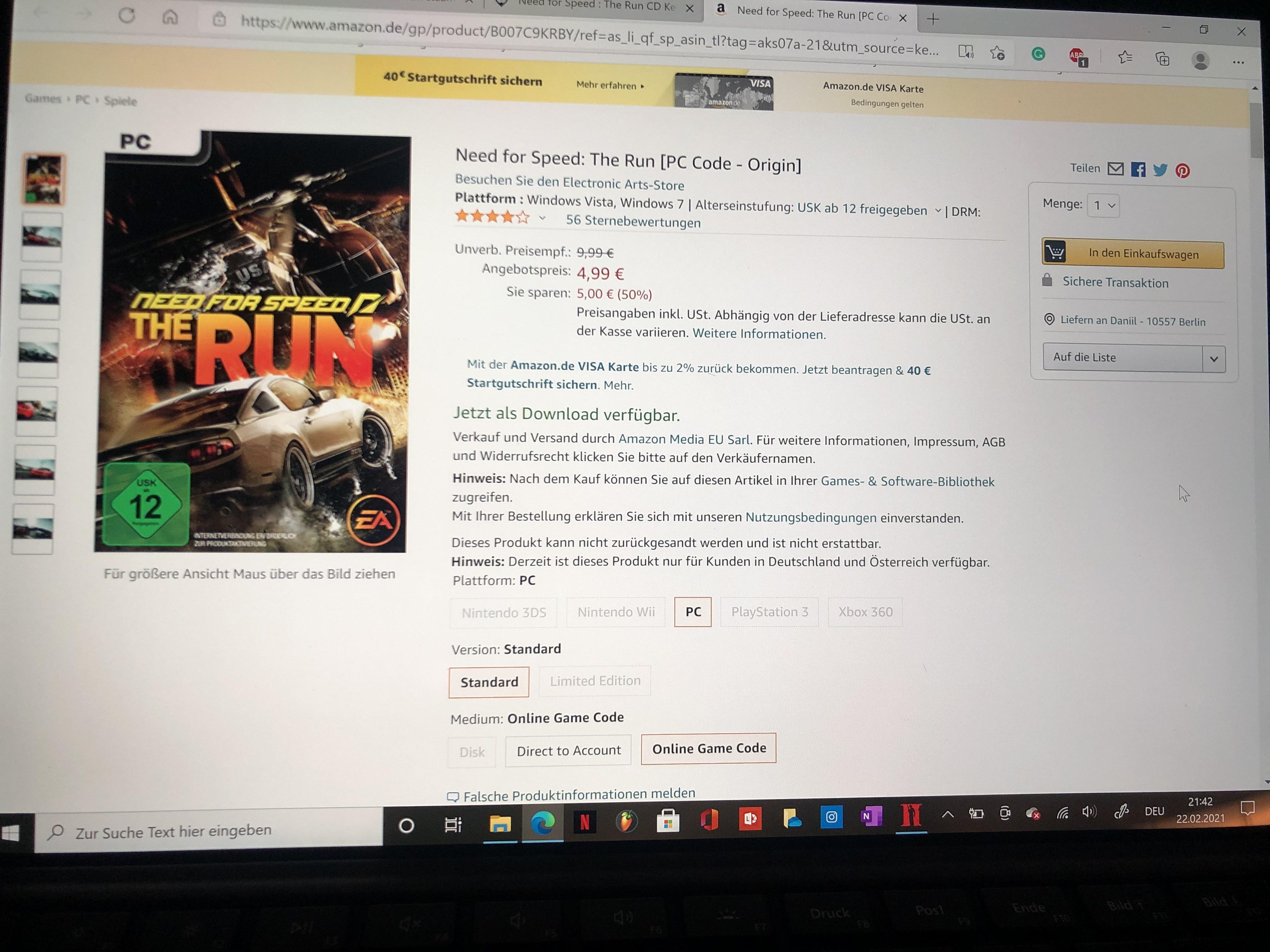 Need for Speed The Run aktuell im Angebot bei Amazon für 4,99)