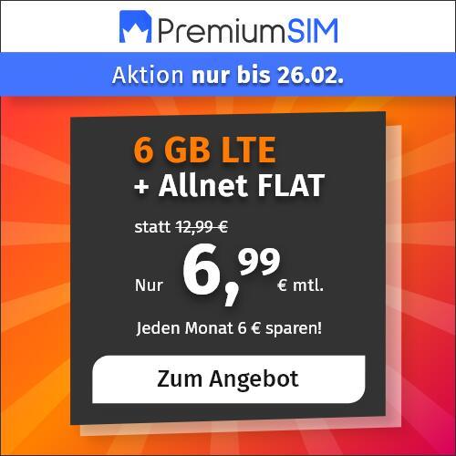 6GB LTE PremiumSIM Tarif mit Allnet- & SMS-Flat, 6GB Datenvolumen LTE 50 Mbit/s für 6,99€ im Monat | VoLTE & WLAN Call