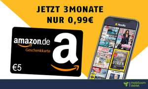 Readly 3 Monate für einmalig 99 Cent plus 5€ Amazon Gutschein