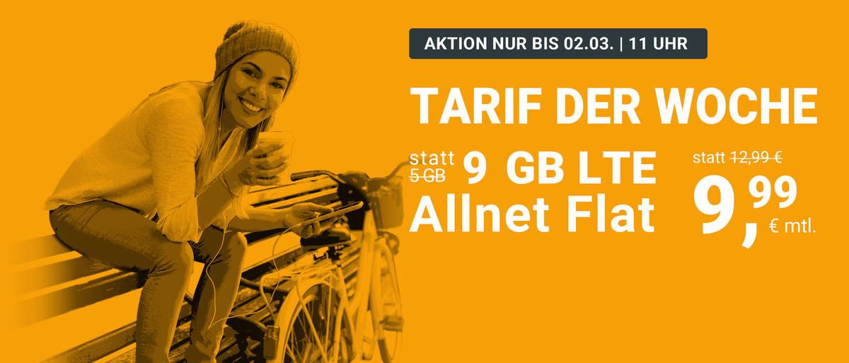 WinSim / Drillisch 9GB für 9,99€ AllnetFlat, 3 Monate Kündigungsfrist