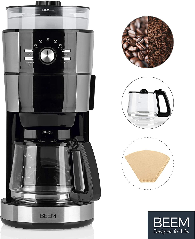 Beem Fresh Aroma Intense Kaffeemaschine mit Mahlwerk (1000W, 120g Bohnenbehälter, 1.25l Glaskanne für 10 Tassen, abnehmbarer Wassertank)