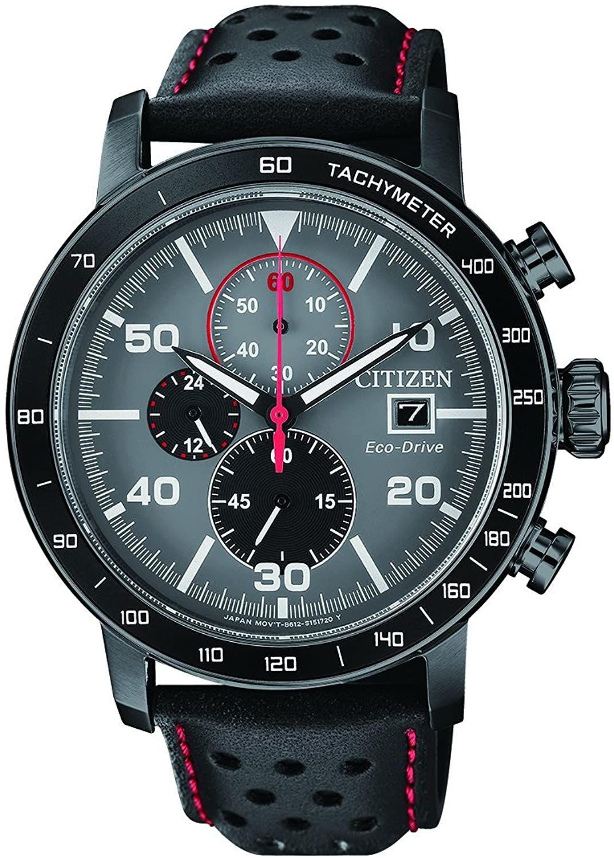 Citizen Eco-Drive CA0645-15H Solar-Chronograph (44 mm, Edelstahl, Kristallglas, Lederarmband, Kalender, Stoppfunktion, wasserdicht 10 bar)