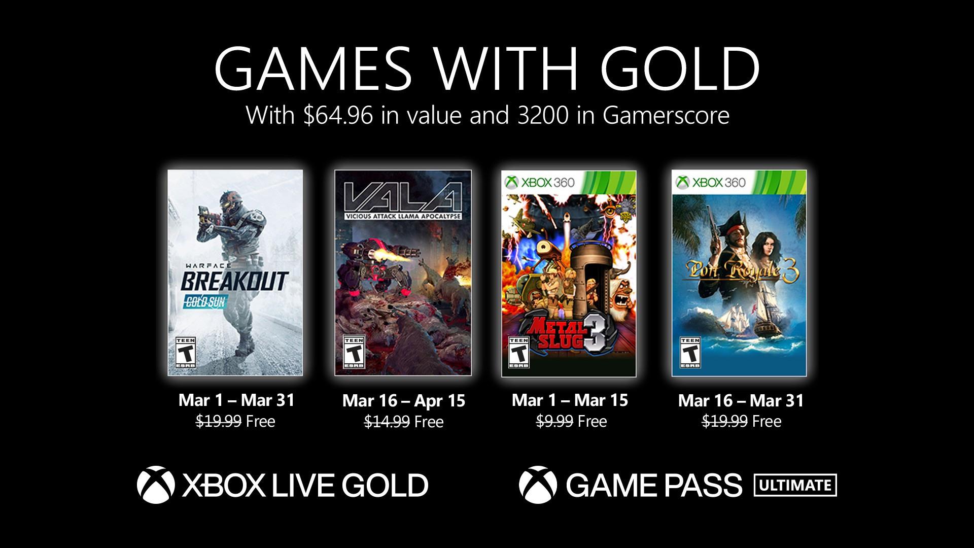Xbox Games Gold März: Warface: Breakout, Vicious Attack Llama Apocalypse, Metal Slug 3 & Port Royale 3