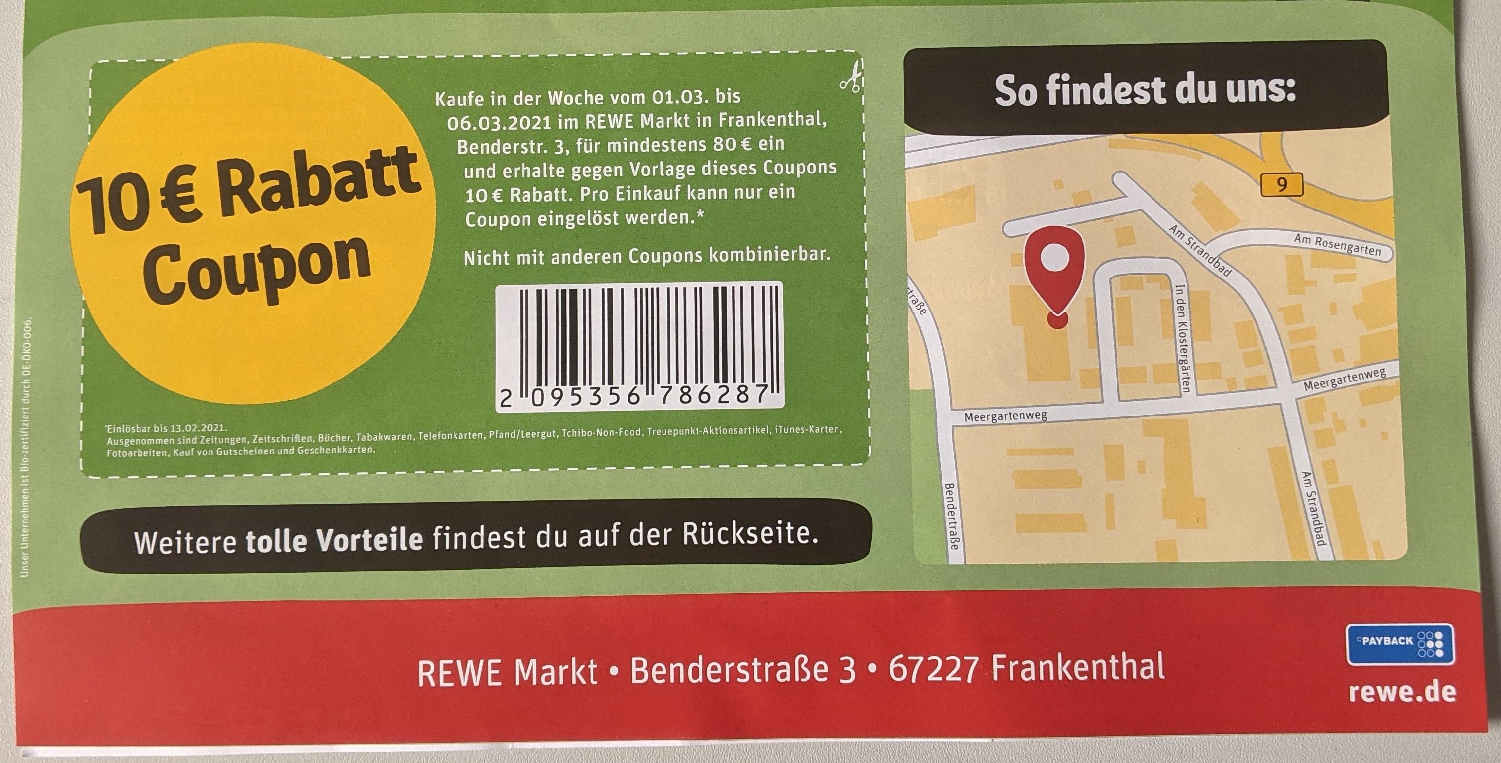 [LOKAL][REWE] 10 EUR Gutschein ab Einkaufswert 80 EUR in 67227 Frankenthal & 76726 Germersheim 01.03.-06.03.2021