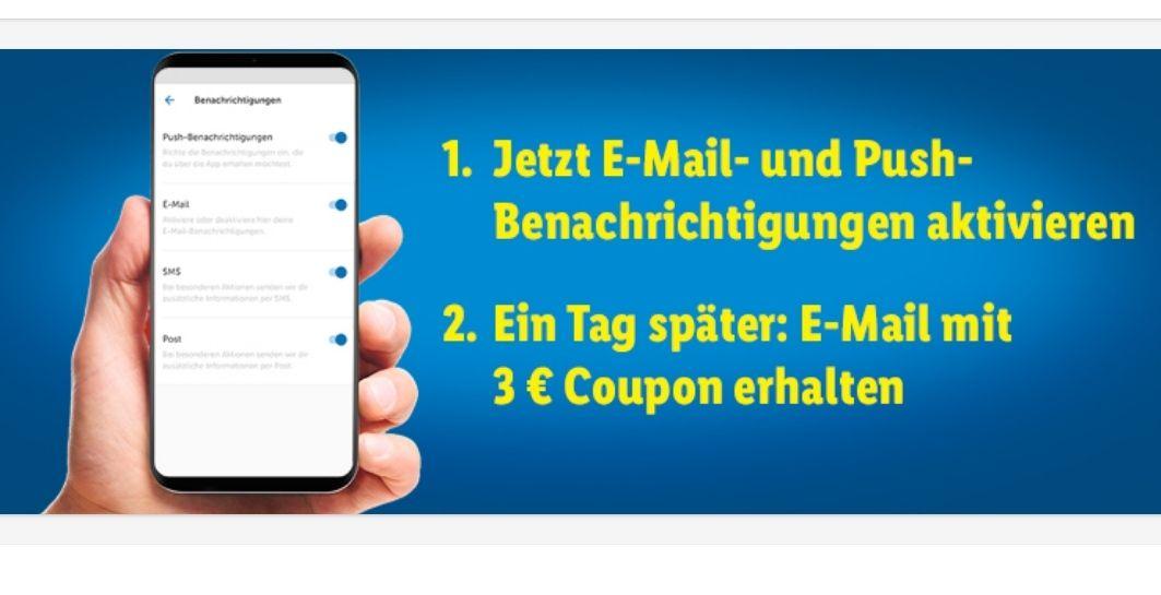 Lidl Plus App- 3€ geschenkt bei Aktivierung E-Mail und Push Benachrichtigung - evtl personalisiert. MEW 30€