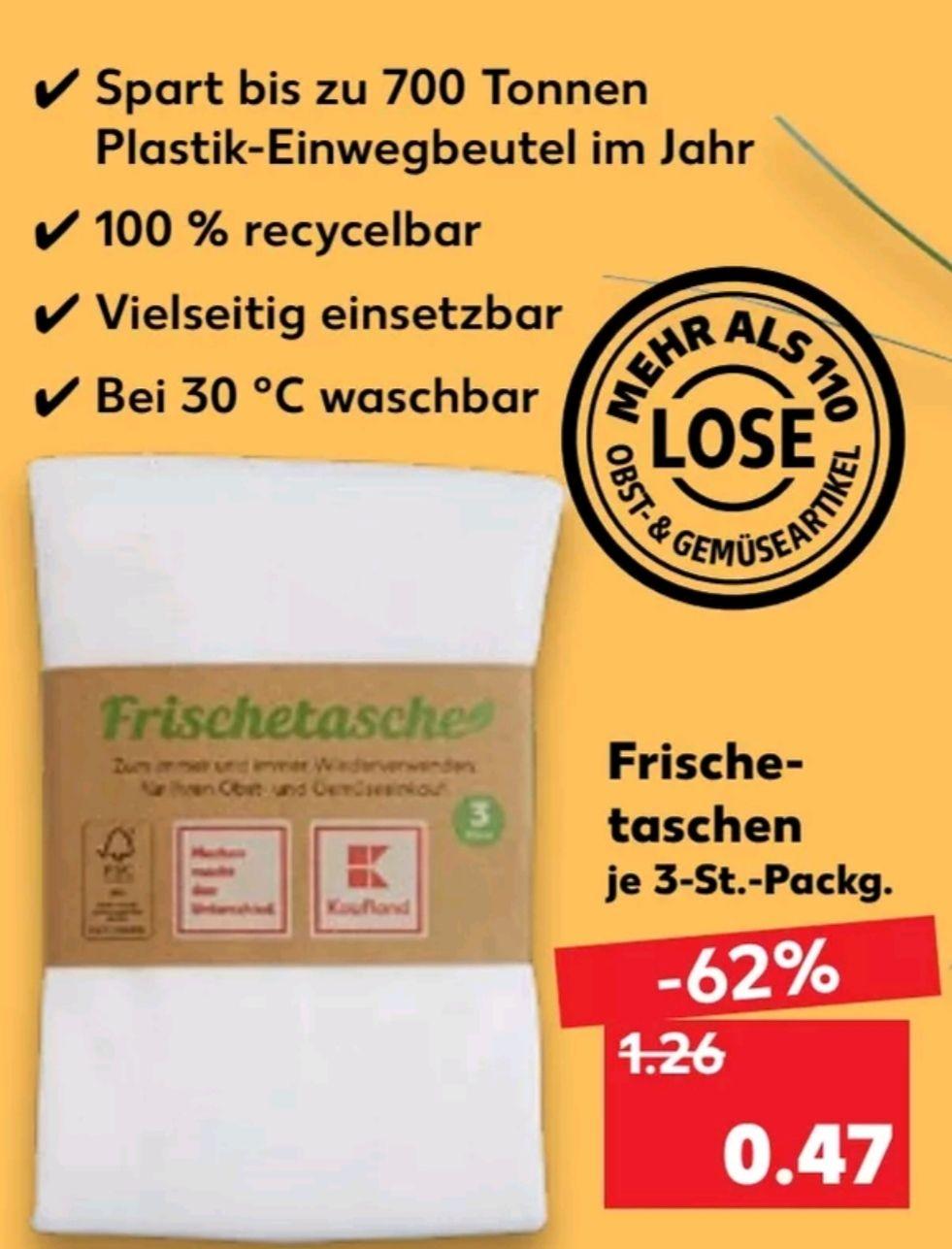 [Kaufland Do-Mi] Frischetaschen (3 Stück pro Packung) für loses Obst z.b. Bananen für 0,47€