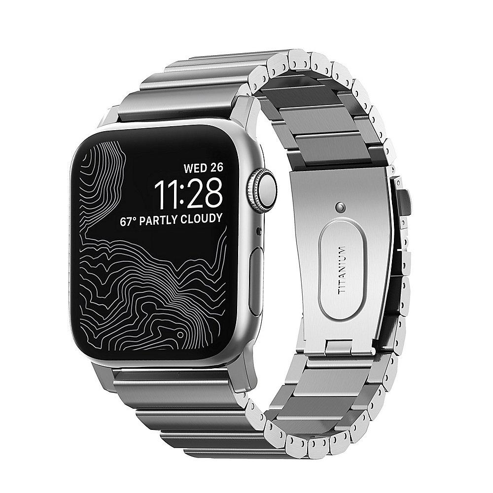 Nomad Strap Titanium Armband für Apple Watch 42/44mm silber