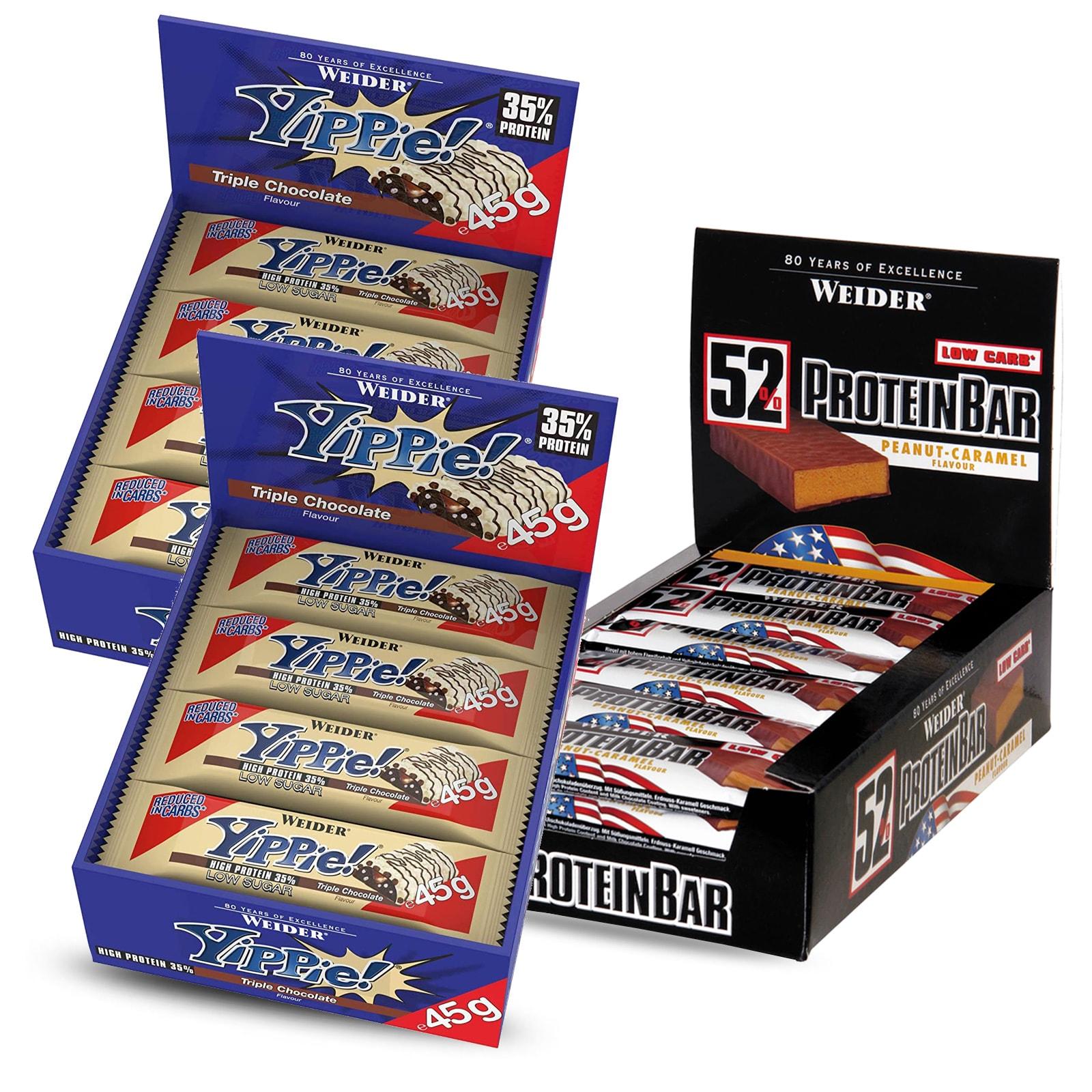 """Proteinriegel-Bundle: 24x 45g Weider Yippie! Bar """"Triple Chocolate"""" & 24x 50g Weider 52% Protein Bar """"Peanut-Caramel"""" (MHD Juni/Juli)"""