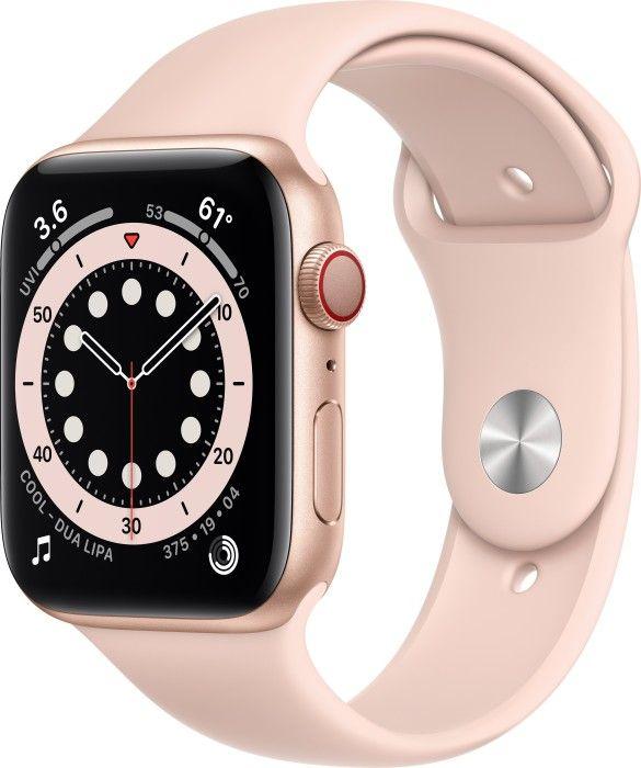 Apple Watch Series 6 (GPS + Cellular) 44mm Aluminium gold mit Sportarmband sandrosa