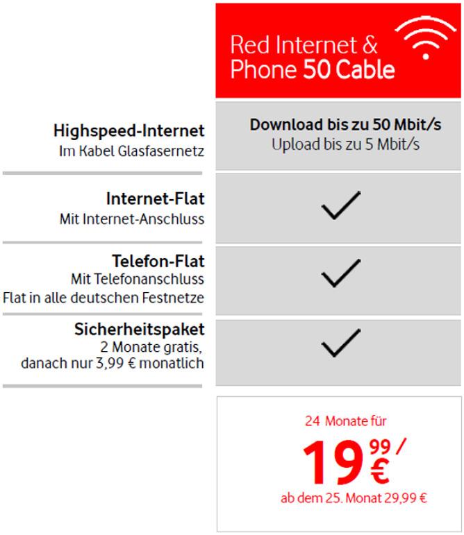 Vodafone Neukunden Red Internet & Phone 50 Mbit/s Cable NRW/Hessen/BaWü (19,99€ mtl. mit 240€ Cashback) effektiv 12,91€ monatlich
