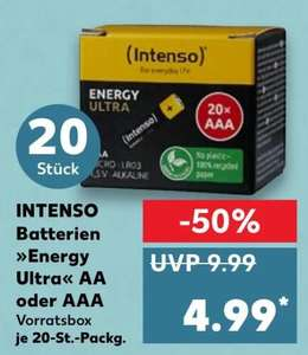 (Kaufland) Intenso Energy Ultra Batterien AA oder AAA, Alkaline Batterien