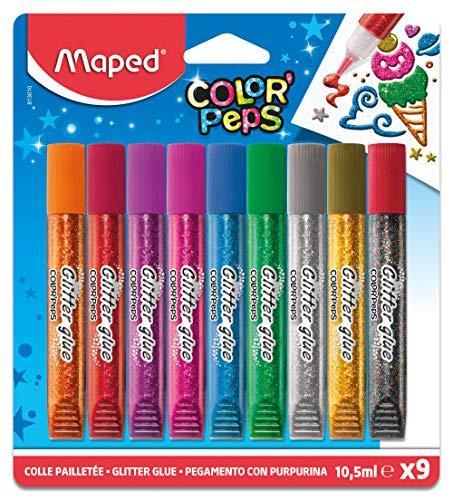 Maped - Glitzer-Klebe-Stift COLOR'PEPS- 9 Tuben a 10,5 ml oder folia Glitter Glue (Prime) je
