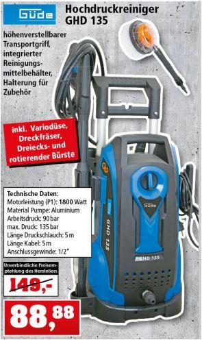 Güde Hochdruckreiniger GHD 135, 1.800 Watt, inkl. Zubehör für 88,88 Euro [Thomas Philipps *]