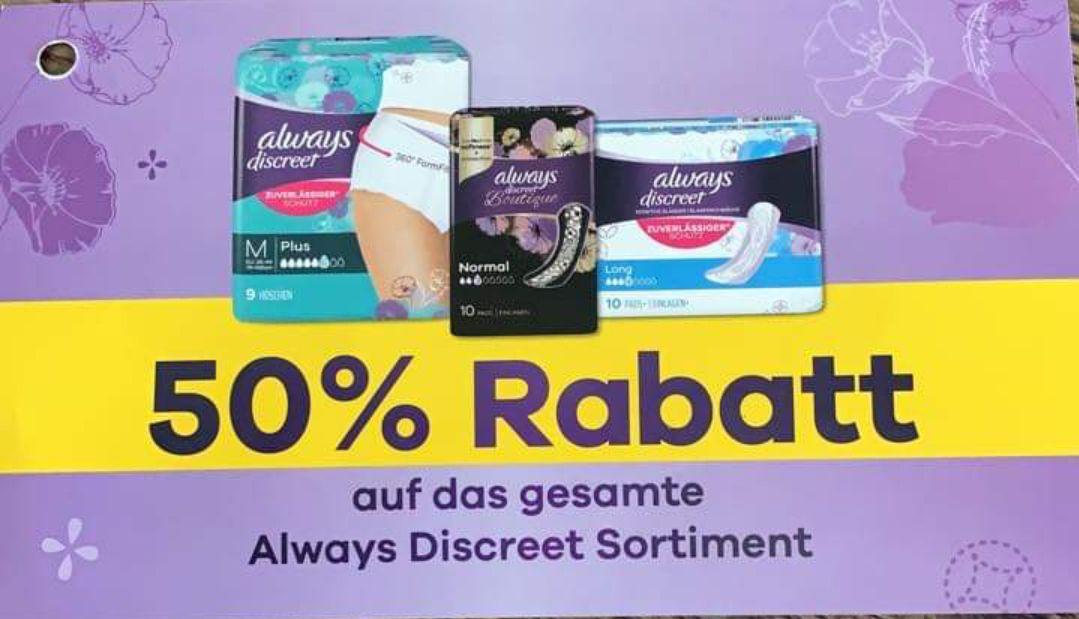 [always Discreet] 50% auf alles bei teilnehmenden Händlern, u. a. Rossmann, Kaufland, Penny