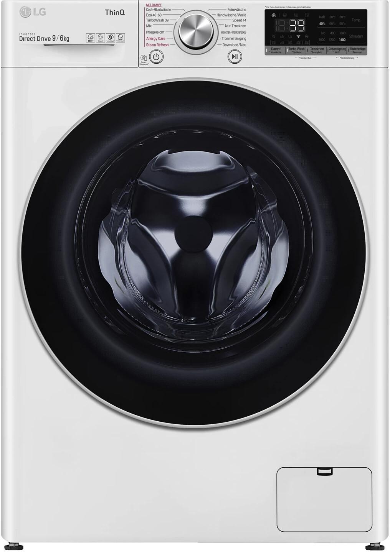 LG V7WD906A Waschtrockner (EEK A, 9/6kg, 1370U/min, Dampffunktion, Direktantrieb, AquaStop, WLAN für App- oder Sprachsteuerung)